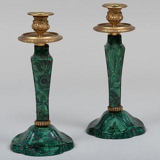 Pair of Gilt-Metal-Mounted Malachite Candlesticks