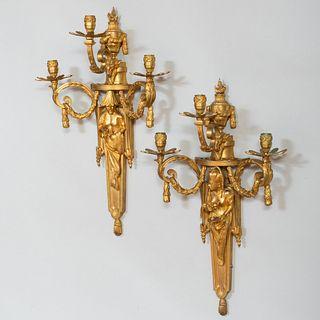 Pair of Louis XVI Style Gilt-Bronze Three Branch Sconces