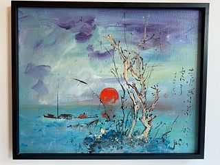 Signed Japanese Oil on Canvas