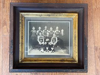 Early 20th C Basketball Team Photo in Victorian Frame