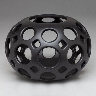 Pierced Openwork Ceramic Orb Candle Holder/ Sculpture