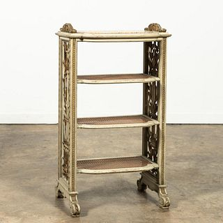 FRENCH PAINT DECORATED MARBLE TOP CANED ETAGERE