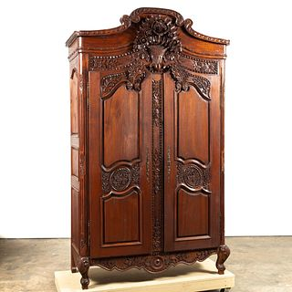 FRENCH LOUIS XV STYLE ORNATE CARVED ARMOIRE