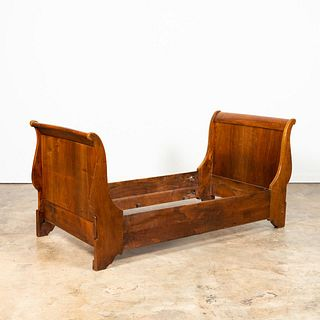 19TH C. LOUIS PHILIPPE WALNUT SLEIGH DAYBED