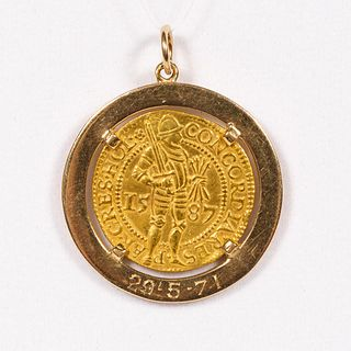 1587 DUTCH COIN IN 14K YELLOW GOLD PENDANT