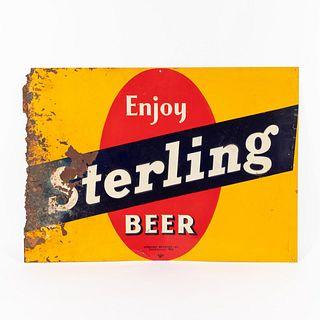 """VINTAGE """"ENJOY STERLING BEER"""" ADVERTISING SIGN"""