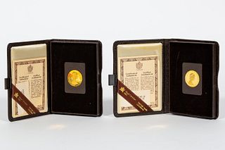 TWO 1980 $100 22K GOLD, CANADIAN PROOF COINS