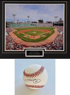 Chris Sale Autographed Baseball & Fenway Park Photograph.