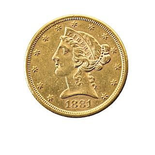 U.S. 1881-S $5.00 GOLD COIN