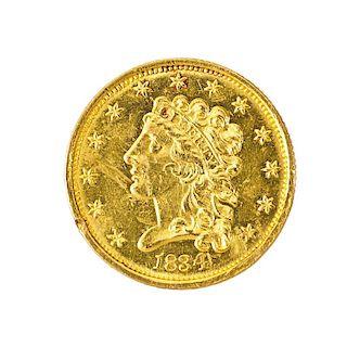 U.S. 1834 CLASSIC HEAD 2 1/2 DOLLAR GOLD COIN