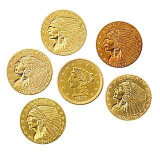 U.S. 2 1/2 DOLLAR GOLD COINS