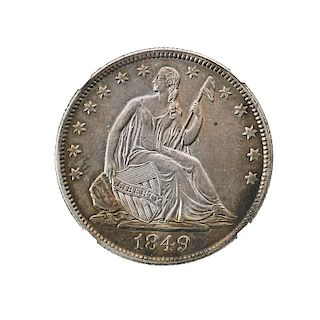1849/1849 50C. COIN REPUNCHED DATE WB-103