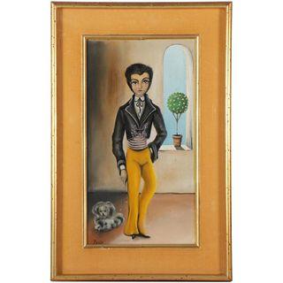 Folk Art Style Oil Painting of Figure & Dog