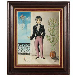 Folk Style Oil Painting of Man Holding Kite