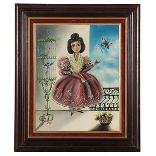 South American Folk Art Oil Painting of Female Portrait