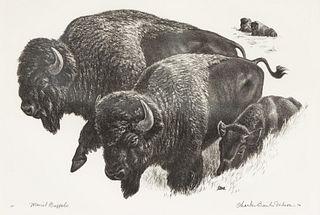 """Charles Banks Wilson (1918-2013) """"Mural Buffalo"""" Litho"""