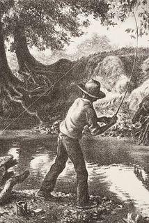 "Charles Banks Wilson (1918-2013) ""Boy on the Creek"" Lithograph"