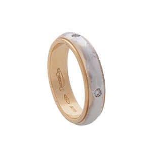 Alliance ring made in 18 kt bicolor gold