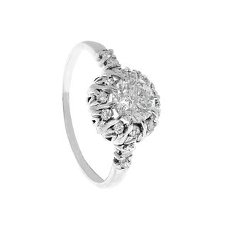 Solitaire ring in 18kts white gold, 40's.
