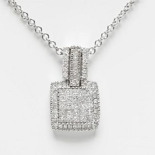 Pendant and chain in 18k white gold