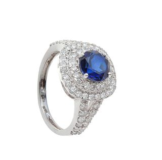 Ring made in 18 kt white gold, with a central sapphire weighing
