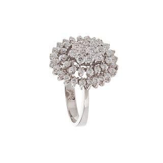 Ring made in 18 Kt white gold, in the shape of a rosette with 48 brilliant-cut diamonds,