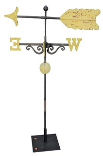 Iron Arrow Weathervane  having iron directional on stand total height on stand 60 inches length 39 inches