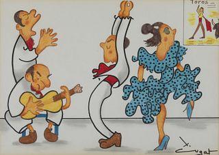 "XAVIER CUGAT (Girona, 1898 - Barcelona, 1990).  ""Concert de flamenc"".  Mixed media on paper."
