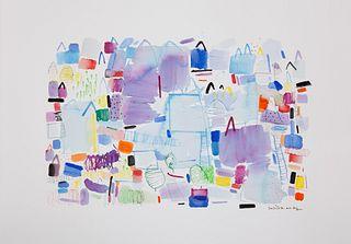 "SUSI LIZONDO (Valencia, 1962).  ""Violet landscape"", 2021.  Acrylic on paper."