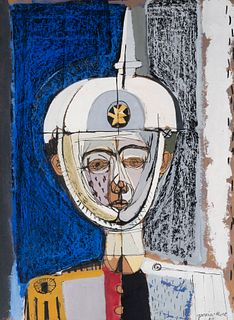 "JOSEP GARCÍA LLORT (Barcelona, 1921-2003).  ""Soldier"", 1959.  Oil on cardboard."