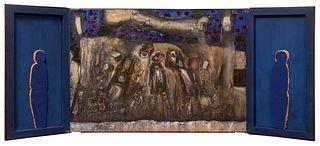 "PIOTR TUREK (Lódz, Poland 1961).  ""Dualis"", 1996. Triptych.  Oil and collage on canvas."