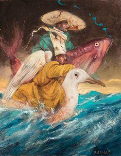"""VICENTE ARNÁS LOZANO (Madrid, 1949).  """"Sea horsemen"""", 2015.  Oil on canvas."""