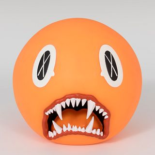 """""""KAWS"""" Brian Donnelly (New Jersey, 1974).  """"Cat teeth bank (orange)"""", 2007.  Vinyl. Edition of 400 copies."""