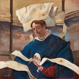 "VICENTE ARNÁS LOZANO (Madrid, 1949).  ""The monk"", 2018.  Oil on canvas."