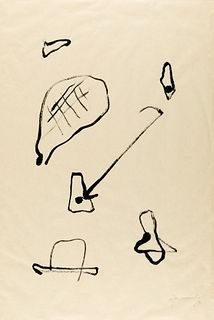 ALBERT RÀFOLS CASAMADA (Barcelona, 1923 - 2009).  Untitled, 1990.  Ink on silk paper.