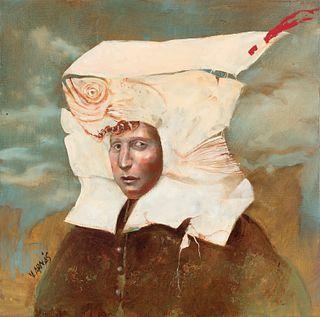 "VICENTE ARNÁS LOZANO (Madrid, 1949).  ""Paper headdress"", 2015.  Oil on canvas."