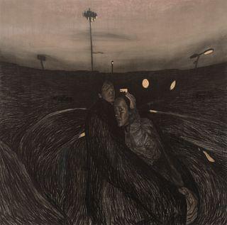"""CURRO GONZÁLEZ (Seville, 1960).  """"Embrace"""", 2004.  Pastel on canvas."""