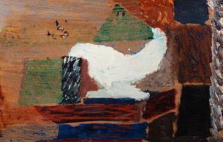 """FERNAND DUBUIS (Sion, Switzerland, 1908 - 1991).  """"Etude de tableau"""", 1951.  Oil on cardboard."""