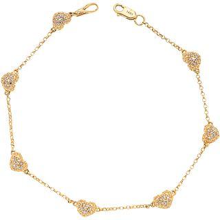 PULSERA CON DIAMANTES EN ORO AMARILLO DE 14K con diamantes corte 8x8 ~0.25 ct. Peso: 4.2 g | BRACELET WITH DIAMONDS IN 14K YELLOW GOLD 8x8 cut diamond