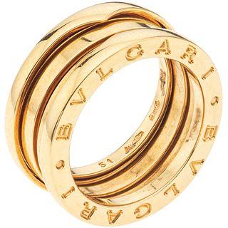 ANILLO EN ORO AMARILLO DE 18K DE LA FIRMA BVLGARI, COLECCIÓN B.ZERO1 de tres bandas. Peso: 9.4 g. Talla: 5 ½   RING IN 18K YELLOW GOLD, BVLGARI, B.ZER