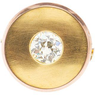 PRENDEDOR CON DIAMANTE EN ORO AMARILLO DE 10K con un diamante corte antiguo~2.30 ct Claridad: SI1-SI2 Color: N-O | BROOCH WITH DIAMOND IN 10K YELLOW G