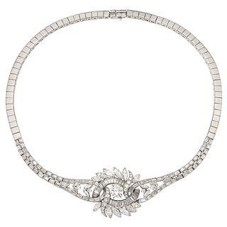 GARGANTILLA CON DIAMANTES EN PLATINO Y PLATA PALADIO con un diamante corte brillante ~2.0 ct Claridad: VS2-SI1 y diamantes ~6.7 ct