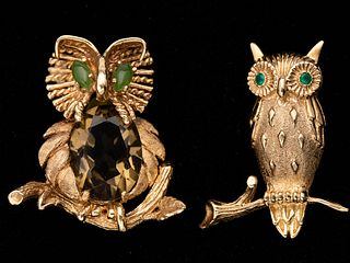 Two 14K Gold Owl Brooches