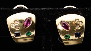 22K Gold & Semi-Precious Stone Earrings