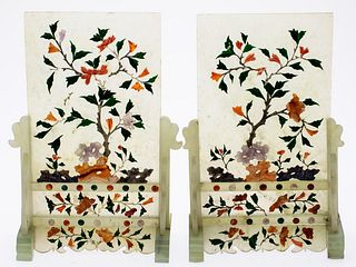 Pair of Chinese Hardstone Table Screens