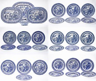 33 Pieces of Blue Willowware