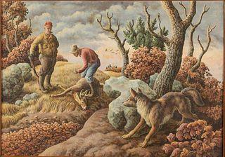 William Wind McKim, Hunting Scene, Oil on Board