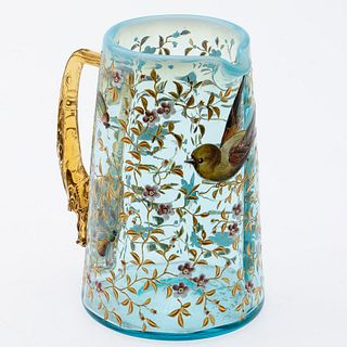 Small Enamel Painted Glass Pitcher, Possibly Moser