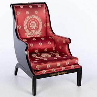 Hollywood Regency Black Painted Upholstered Armchair