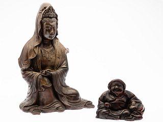 Japanese Bizen Pottery Guanyin, Meiji Period